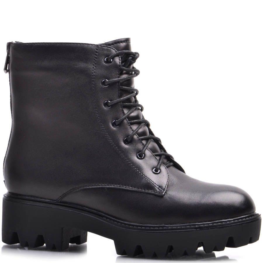 Ботинки Prego черные зимние со шнуровкой и молнией на устойчивом каблуке