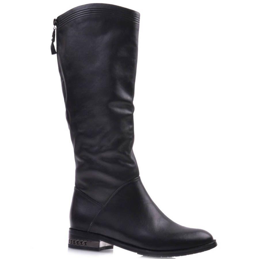Сапоги Prego осенние черного цвета кожаные на низком ходу с декором в виде цепочки на каблуке