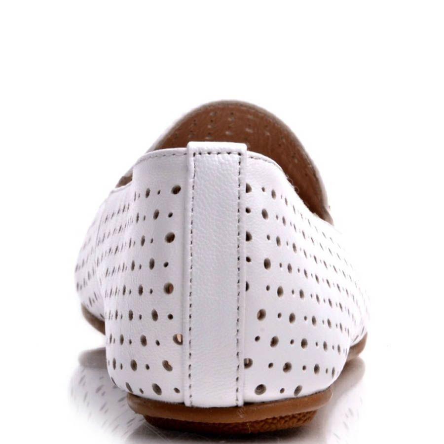 Балетки Prego белого цвета с мелкой круглой перфорацией