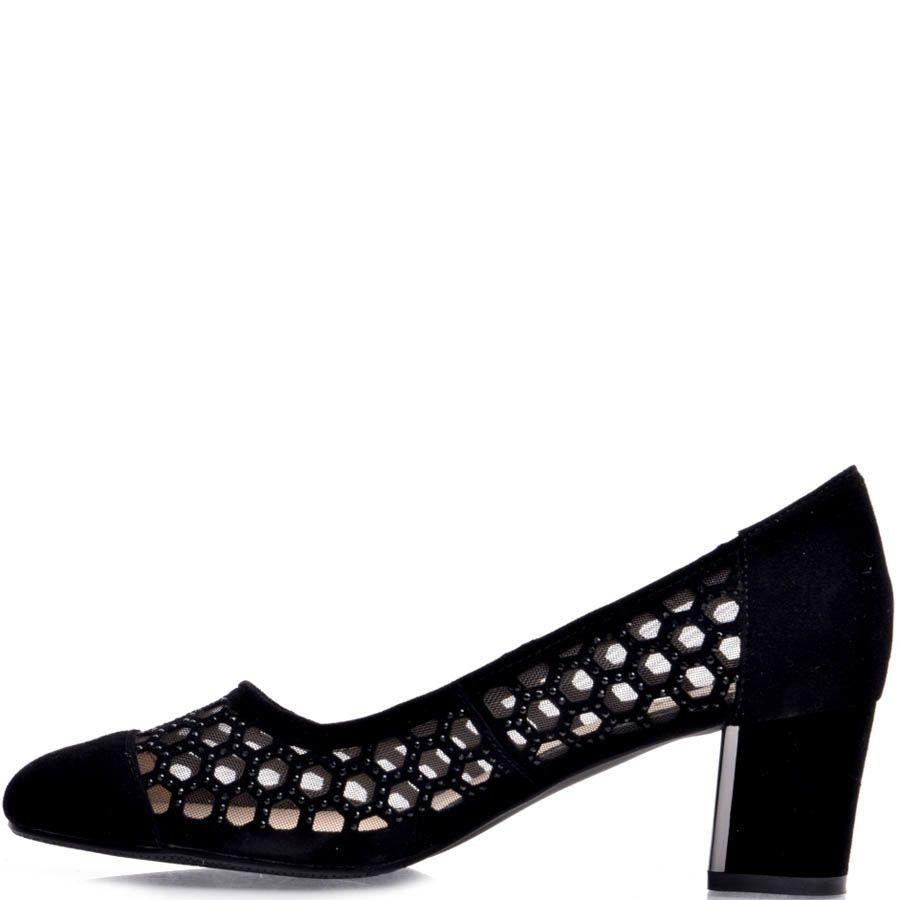 Туфли Prego черного цвета замшевые с сеточкой и перфорацией в форме сот