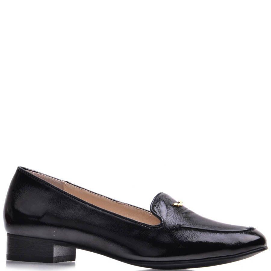 Туфли Prego женские черного цвета лаковые на низком широком каблуке