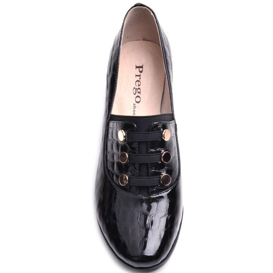 Туфли Prego женские черного цвета лаковые на широком каблуке