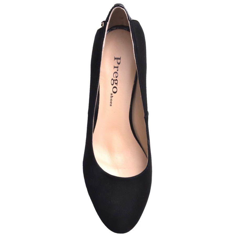 Туфли Prego замшевые с круглым носком и лаковой вставкой на пяточке