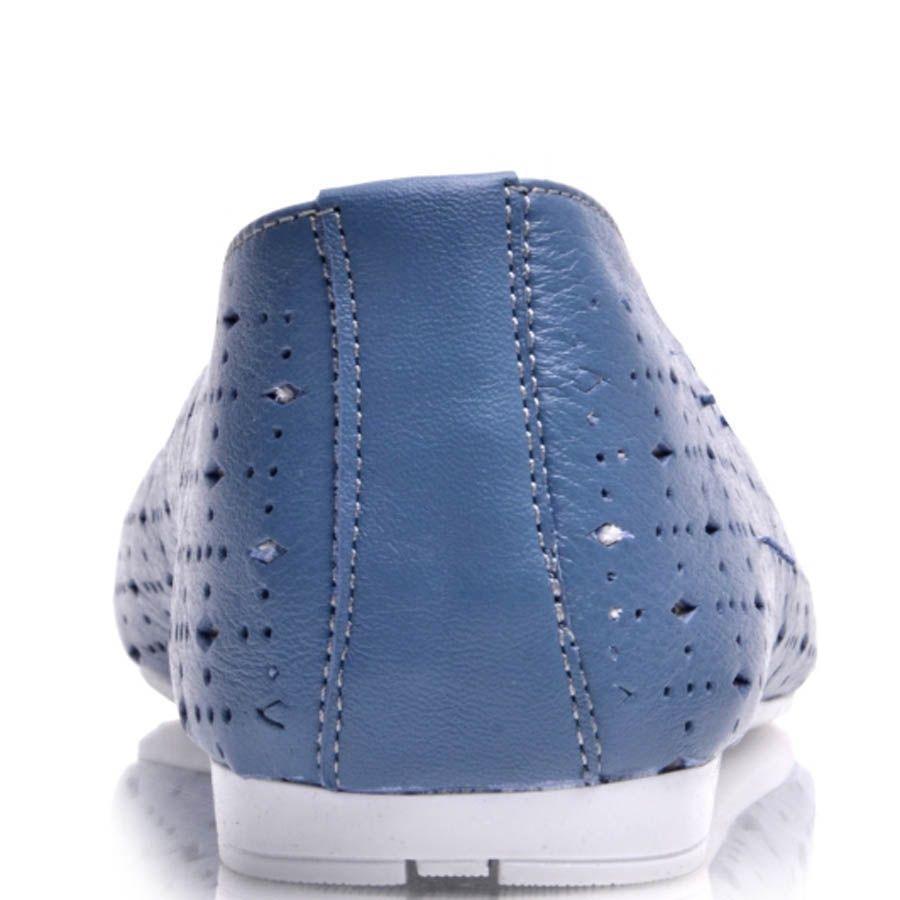 Туфли Prego женские синего цвета на шнуровке с перфорацией