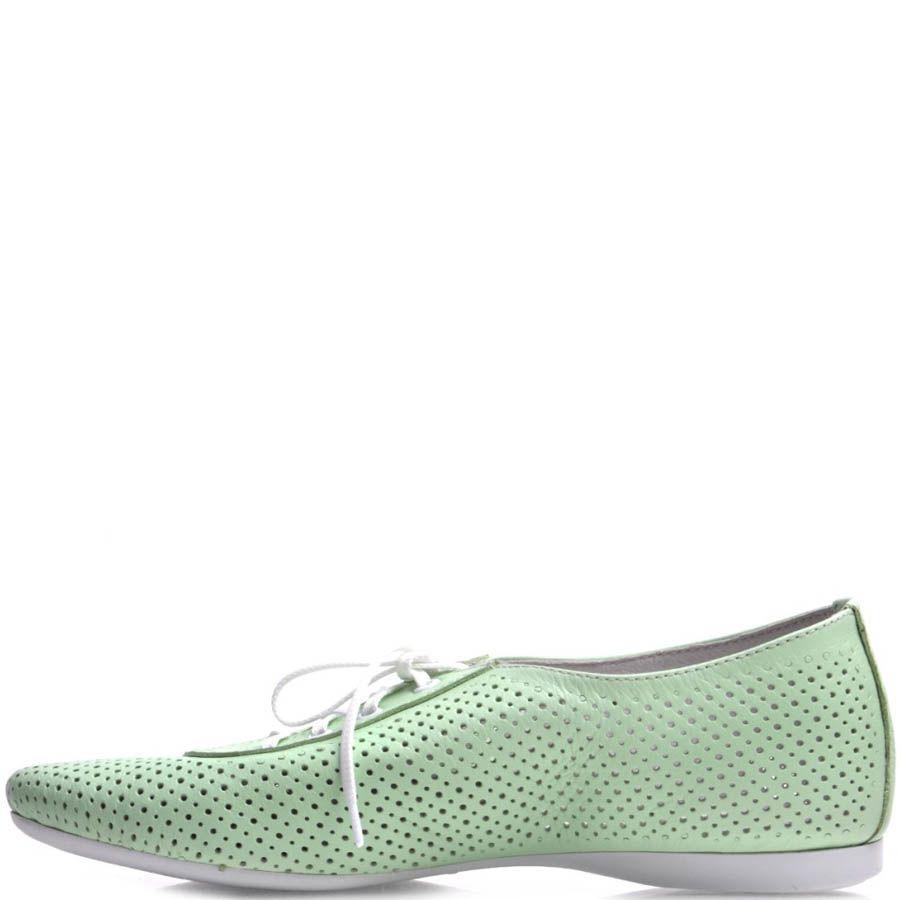 Туфли Prego мятного цвета на шнуровке с перфорацией