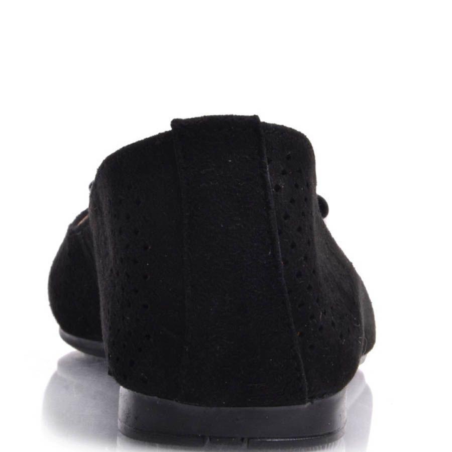 Балетки Prego замшевые черные с перфорацией и лаковым бантиком