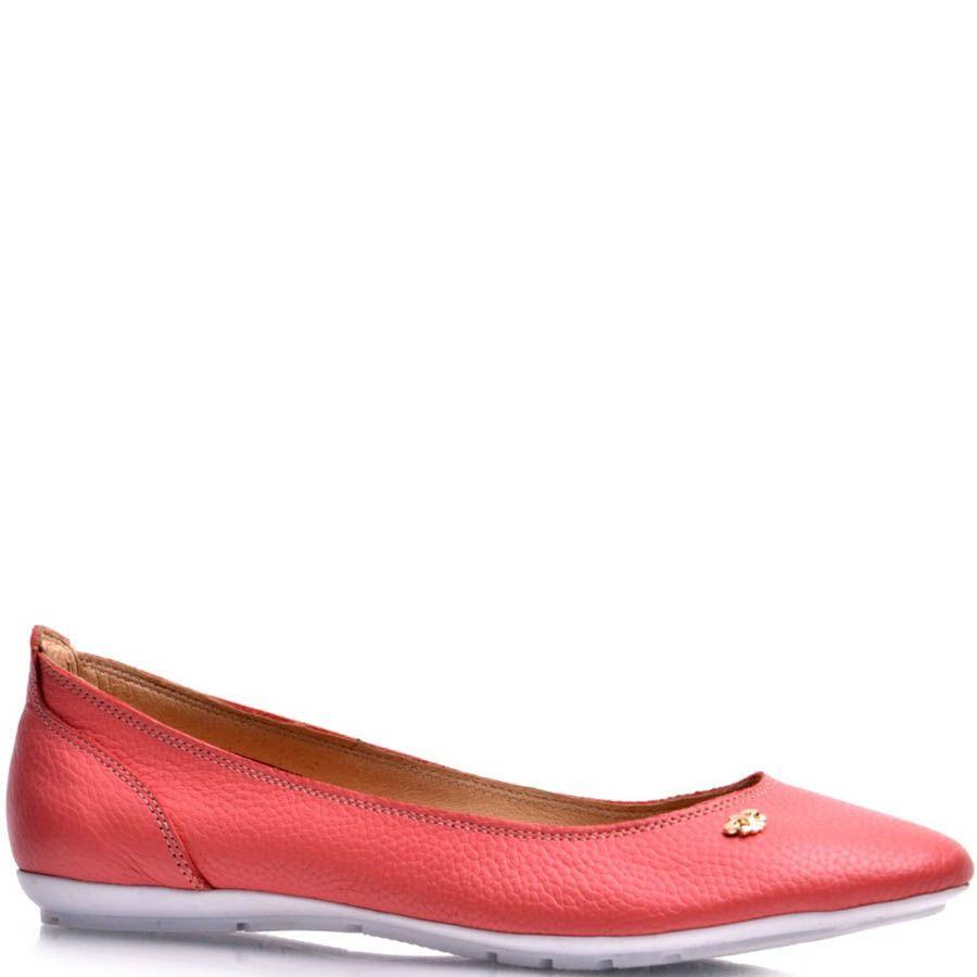 Балетки Prego кожаные красного цвета со спортивной подошвой