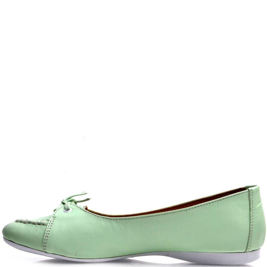 Туфли Prego со шнуровкой мятного цвета кожаные