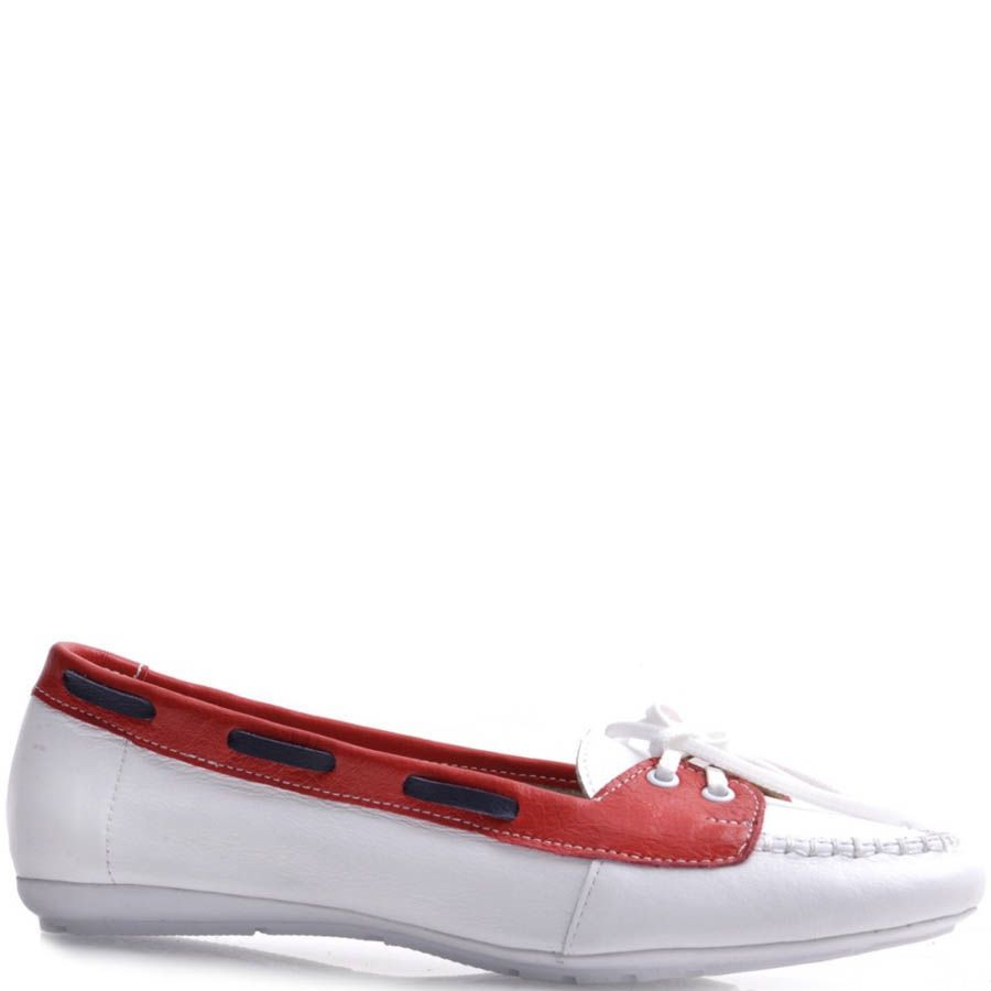 Топсайдеры Prego женские белого цвета с красной вставкой кожаные