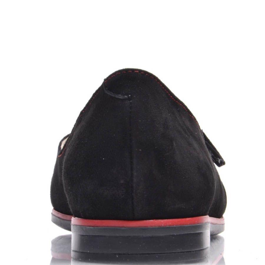 Мокасины Prego черные замшевые с красными строчками