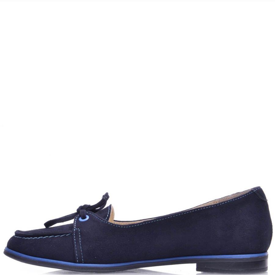 Мокасины Prego женские синие замшевые