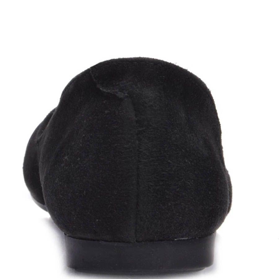 Балетки Prego замшевые черного цвета с декоративным ремешком на носочке