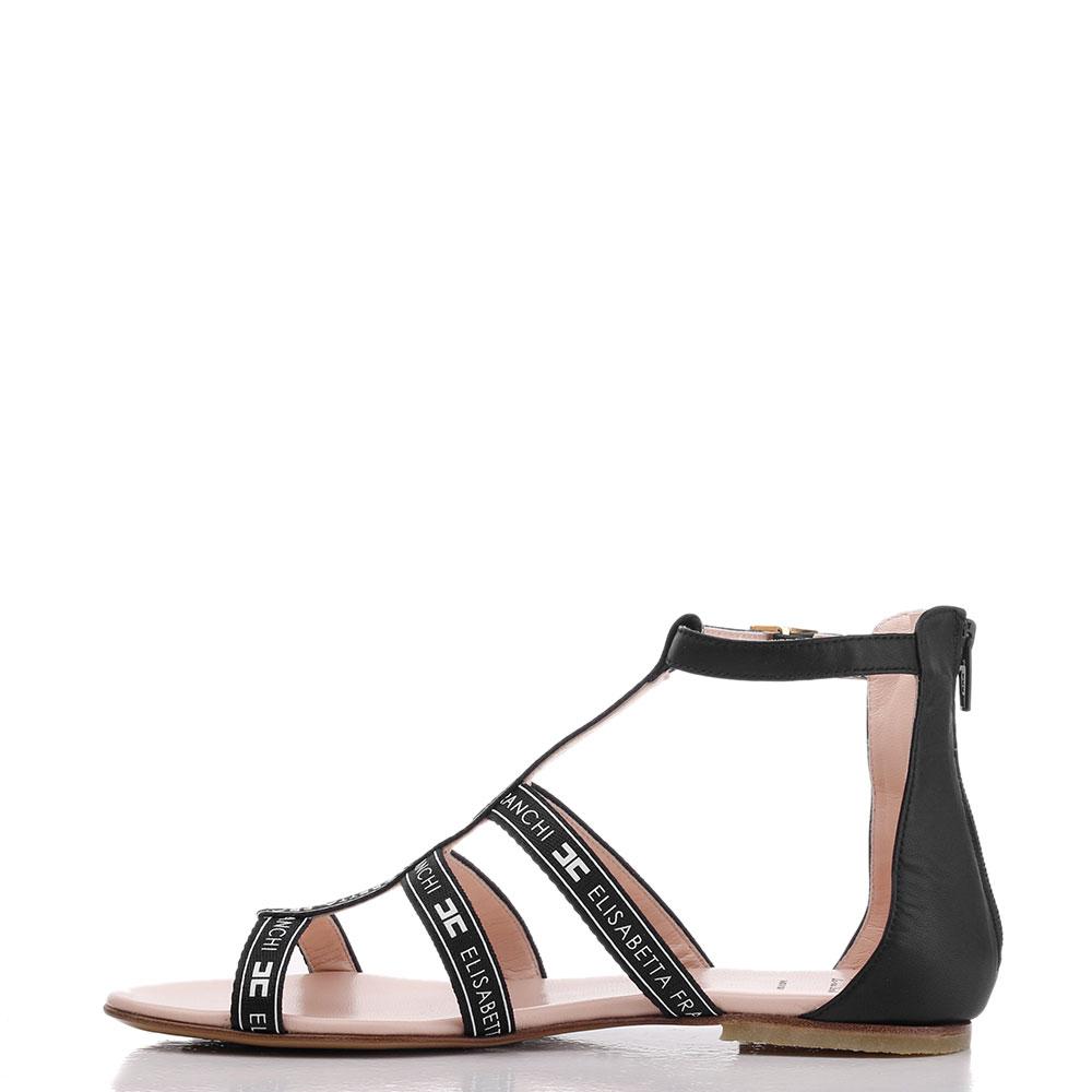 Черные сандалии Elisabetta Franchi с фирменным принтом