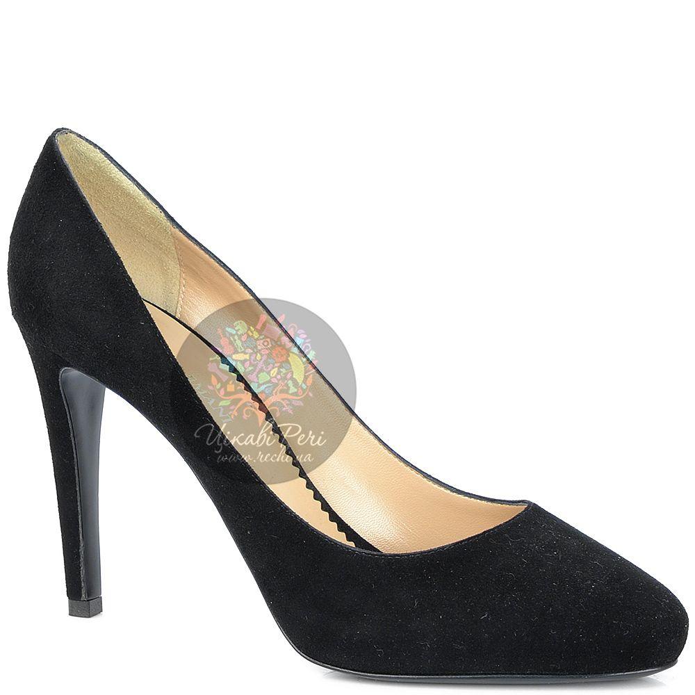 Туфли Emporio Armani на шпильке и скрытой платформе замшевые черные
