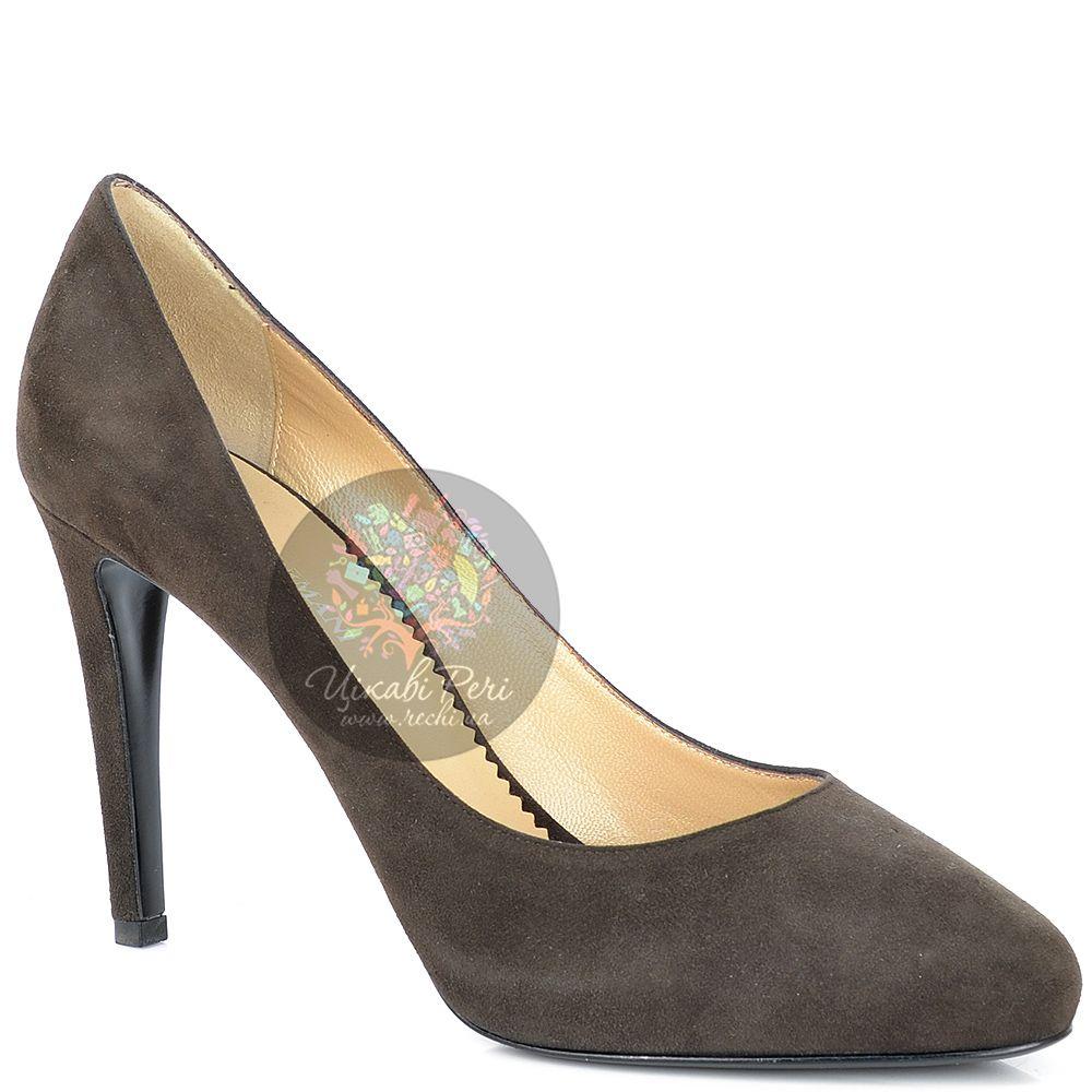 Туфли Emporio Armani из коричневой замши на шпильке и платформе