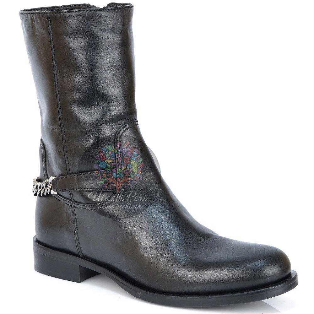 Ботинки Emporio Armani кожаные черные на низком ходу с цепью