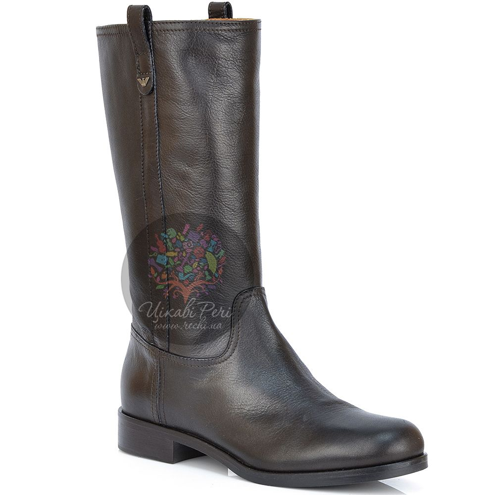 Полусапожки Emporio Armani кожаные темно-коричневые на низком каблуке