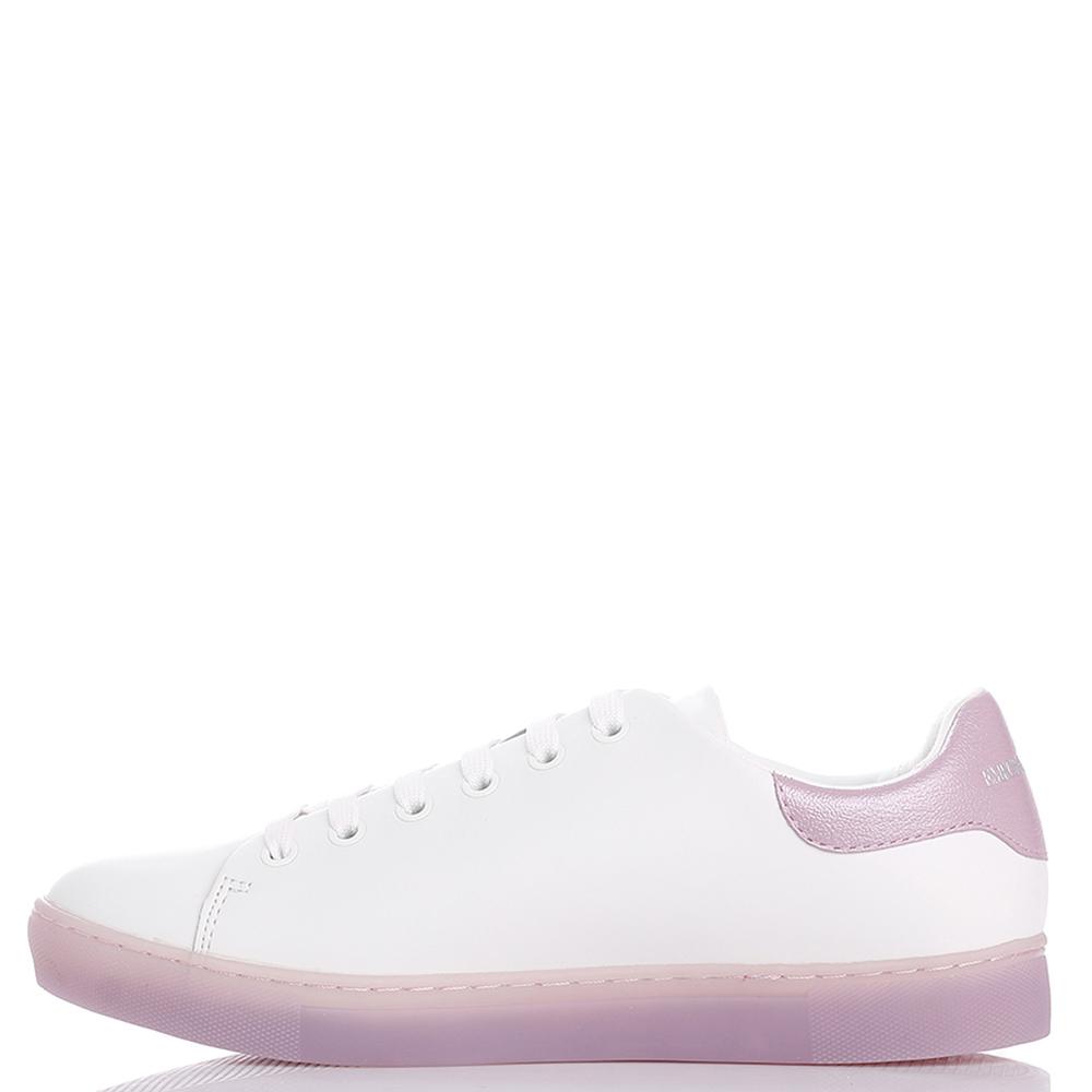 Белые кеды Emporio Armani с розовыми стразами