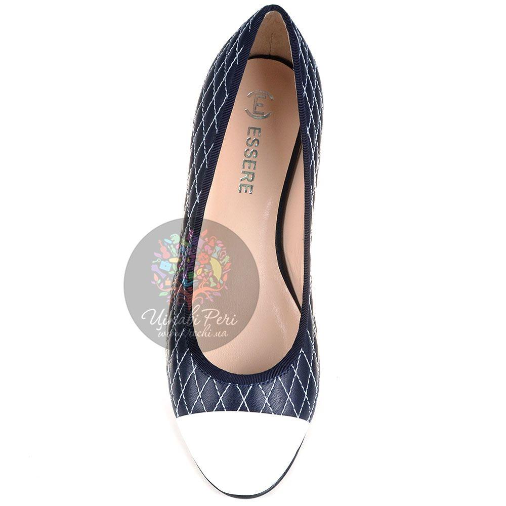 Балетки Essere кожаные черно-синие стеганые белой ниткой с белым лаковым носком