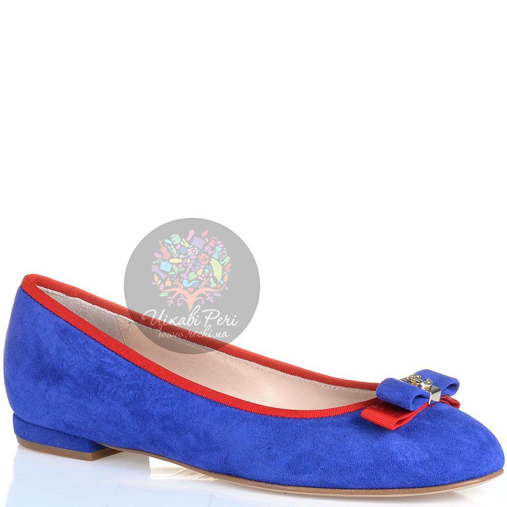 Балетки Essere замшевые ярко-синие с бантиком и красной отделкой