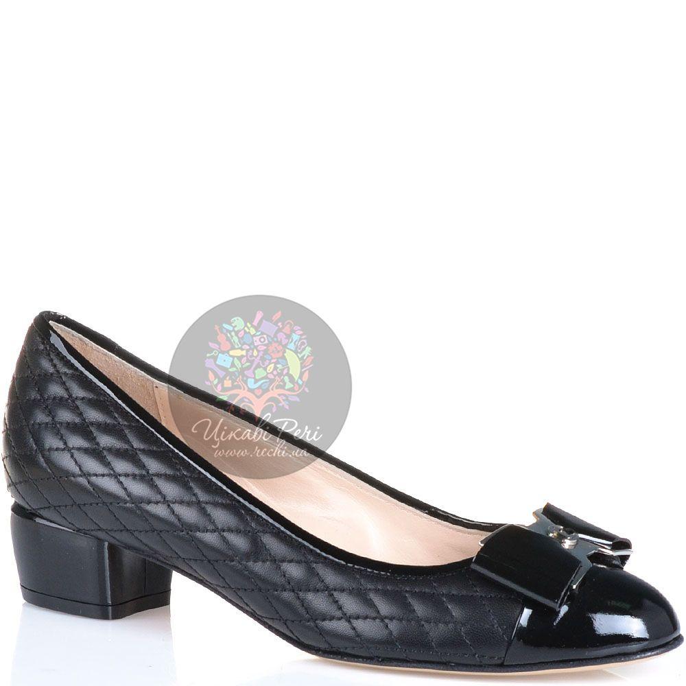 Туфли Essere кожаные стеганые черные с лаковым носком и каблуком