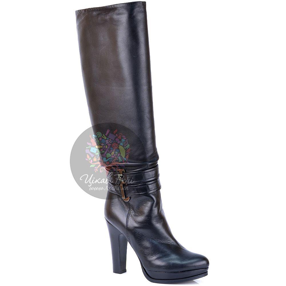 Сапоги Essere на каблуке и платформе черные кожаные зимние с евромехом
