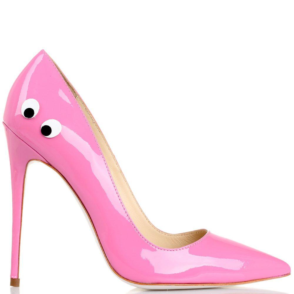 Туфли-лодочки Kandee лаковые розового цвета с декоративными глазками