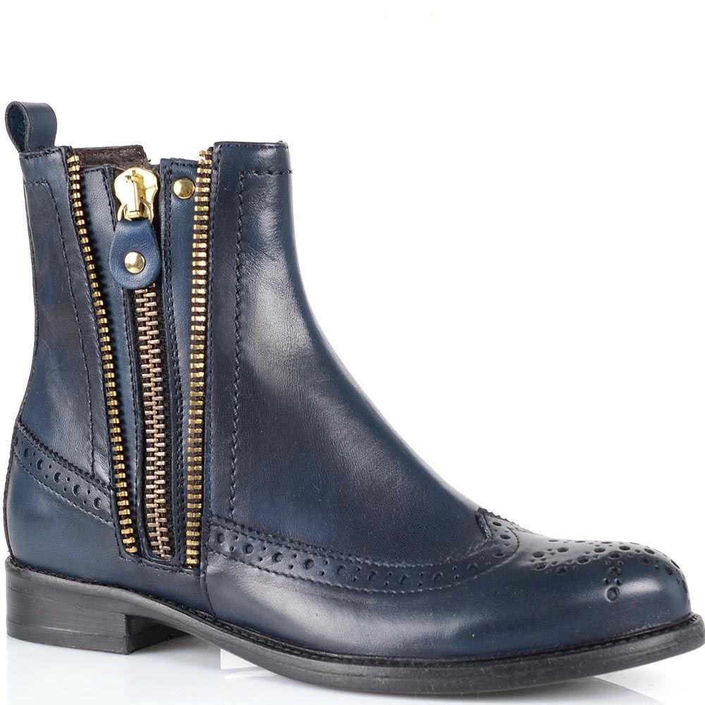Ботинки-броги ручной работы Fabbrica Morichetti темно-синего цвета