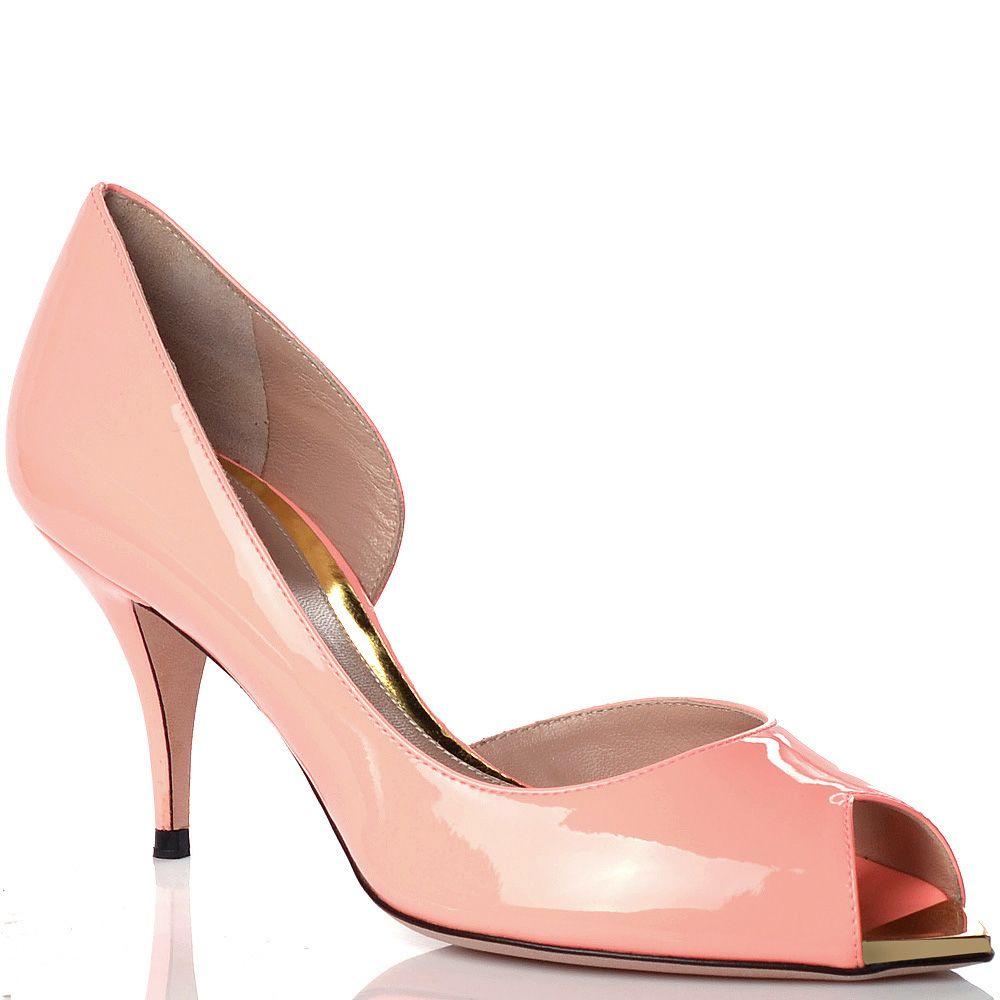 Туфли Sebastian на маленькой шпильке кожаные лаковые розовые с открытым носком