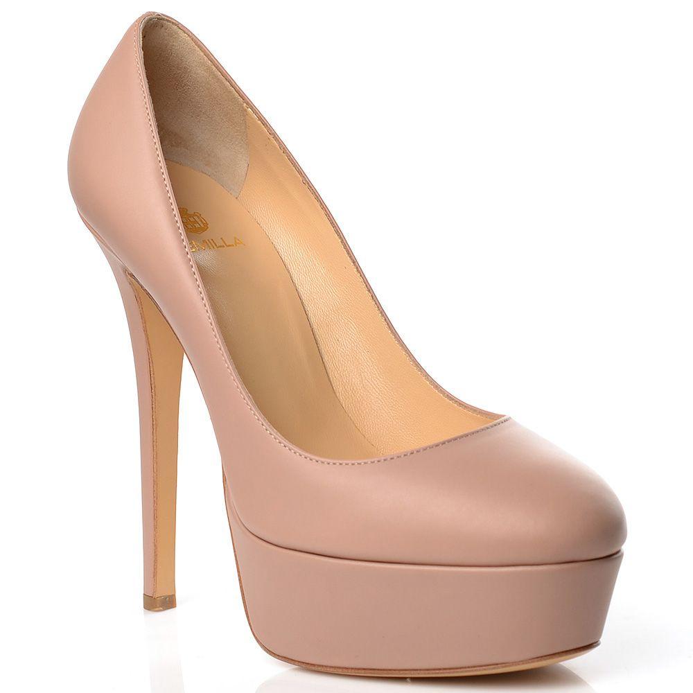Бежевые туфли Semilla кожаные на высокой шпильке