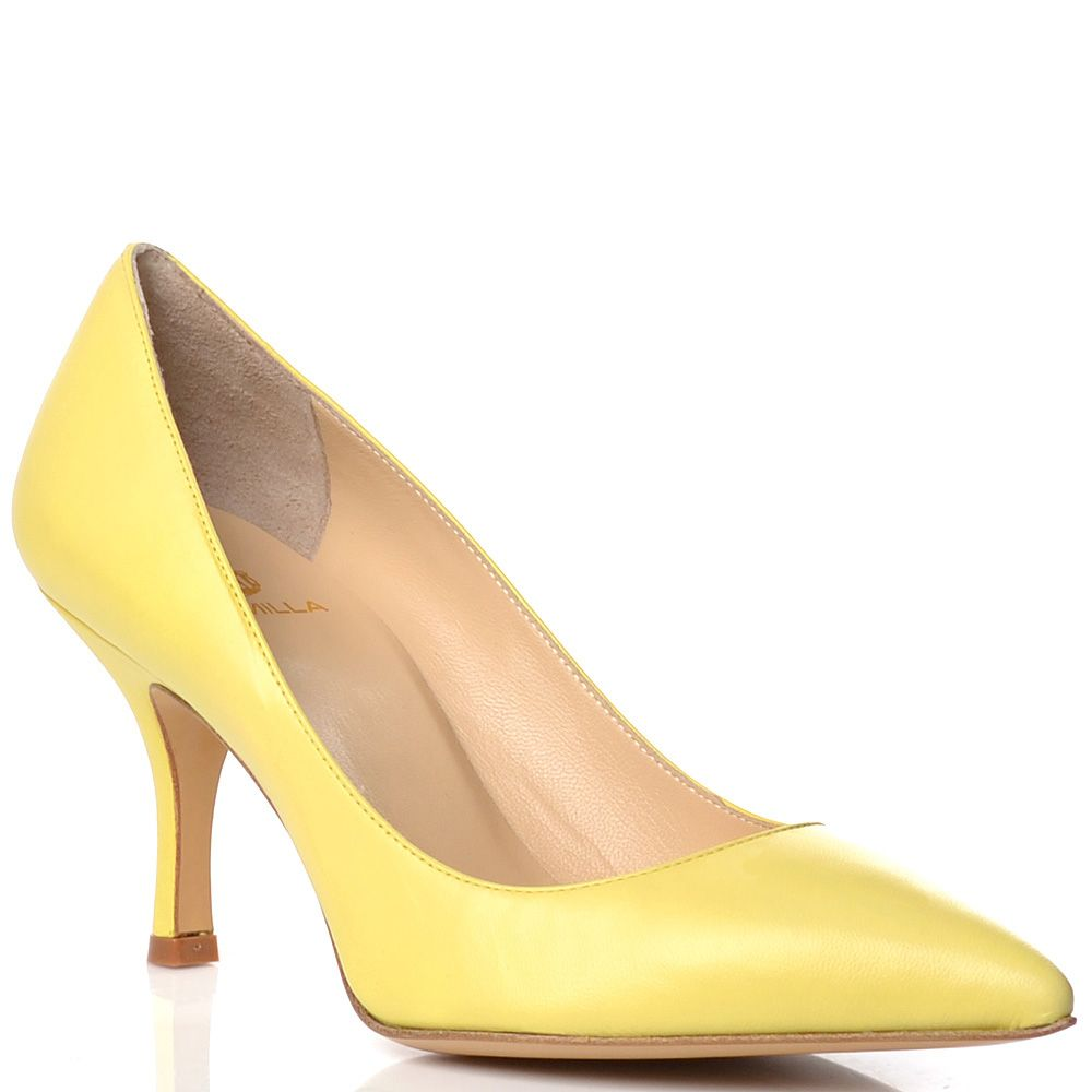 Кожаные лодочки Semilla на низкой шпильке пастельно-желтые
