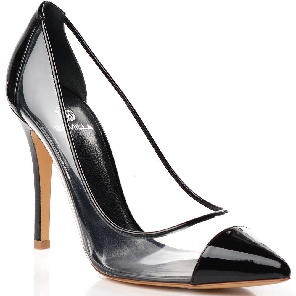 Туфли-лодочки Semilla на шпильке прозрачные с черным кожаным носком и пяточной частью