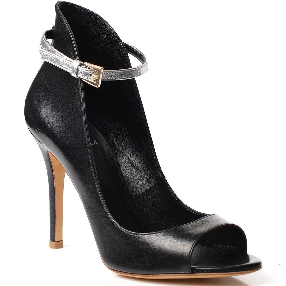 Черные кожаные туфли Semilla на шпильке с открытым носком и высокие сзади