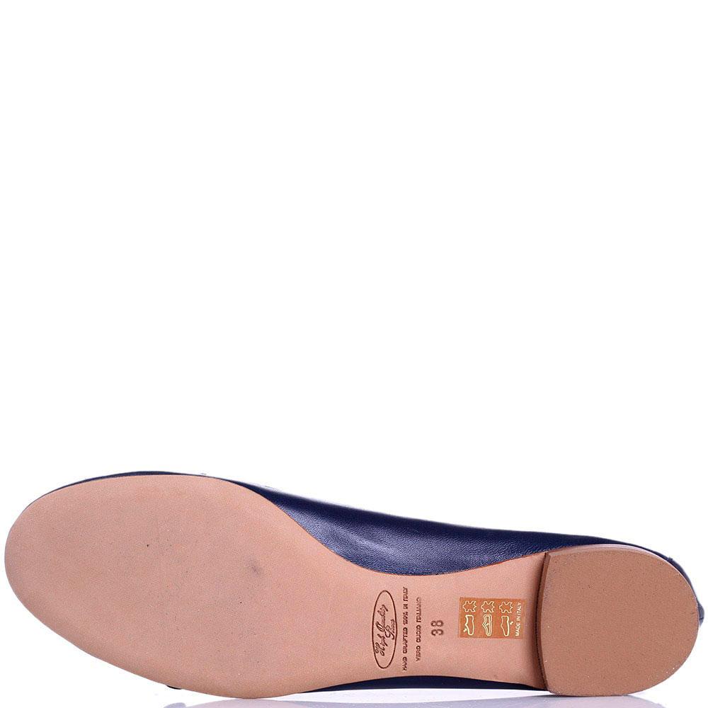 Кожаные балетки с декоративным ремешком Via Mercanti синие с белым