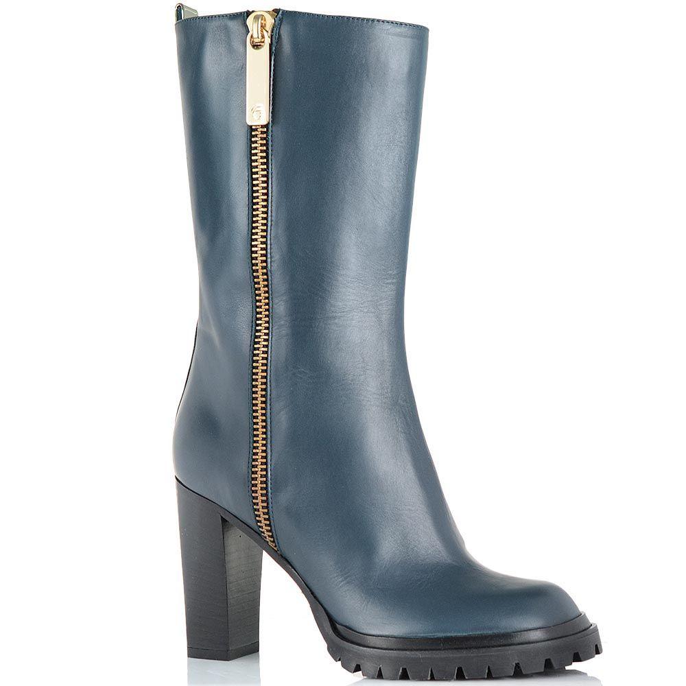 Высокие ботинки Giorgio Fabiani сине-голубого цвета с декоративной молнией