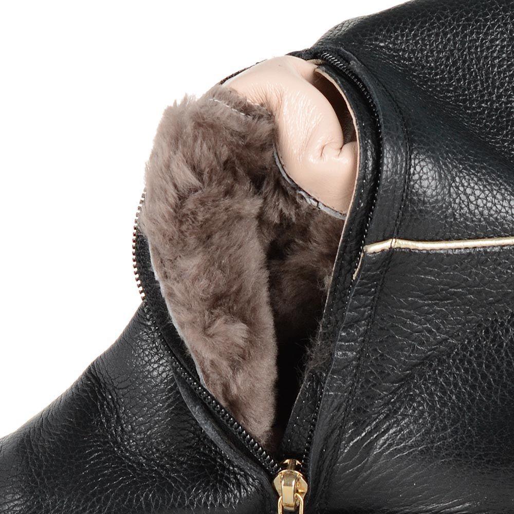 Кожаные сапоги Giorgio Fabiani черного цвета со светлым отделочным кантом