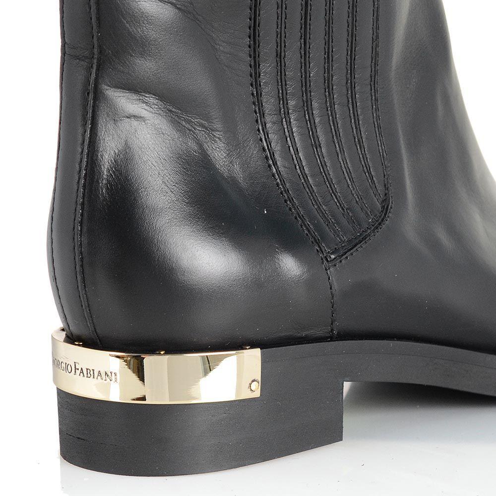 Кожаные сапоги Giorgio Fabiani черного цвета с вертикальной стежкой