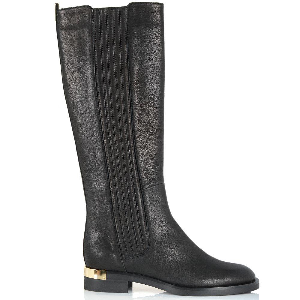 Женские сапоги Giorgio Fabiani черно-серого цвета с вертикальной стежкой