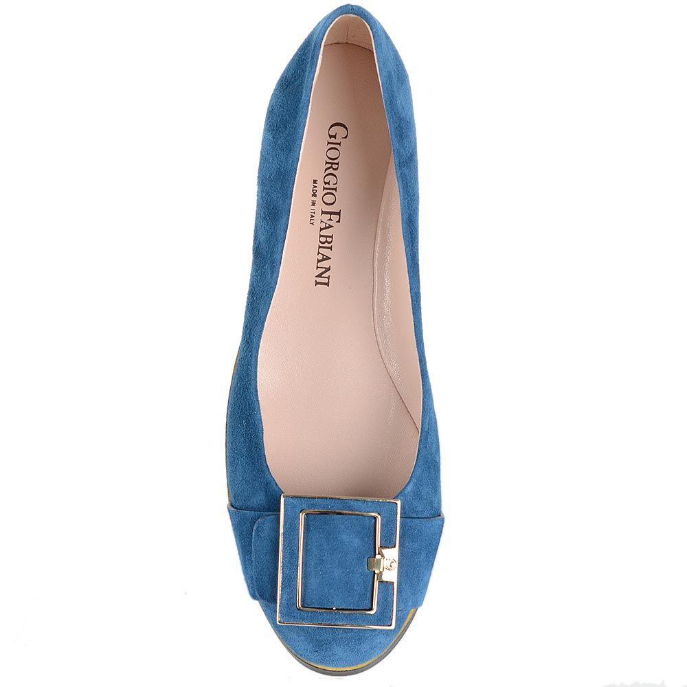 Синие замшевые балетки Giorgio Fabiani с декором-ремешком на носочке