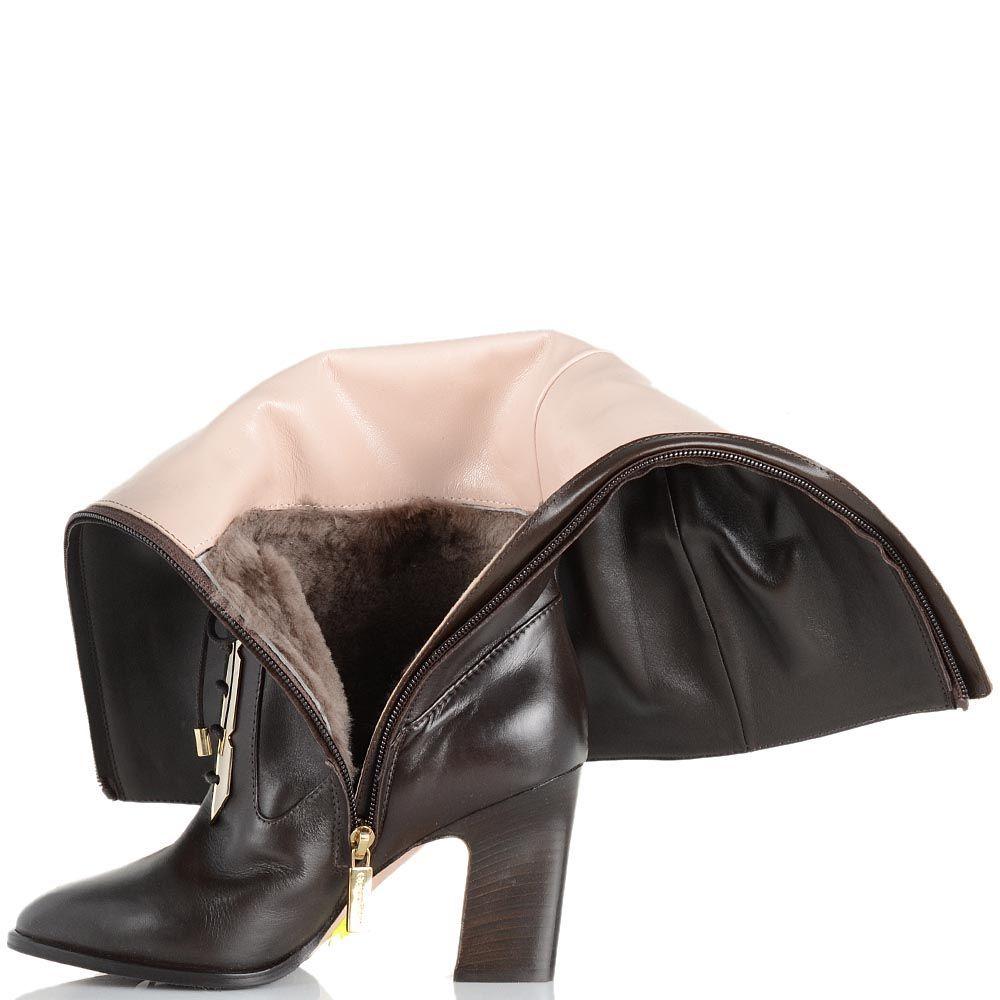 Сапоги Giorgio Fabiani коричневого цвета с имитацией шнуровки