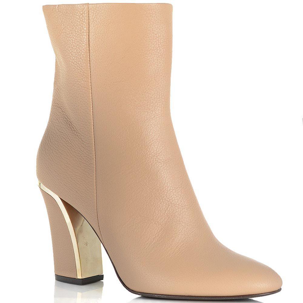 Женские ботинки Giorgio Fabiani на золотистом каблуке бежевые