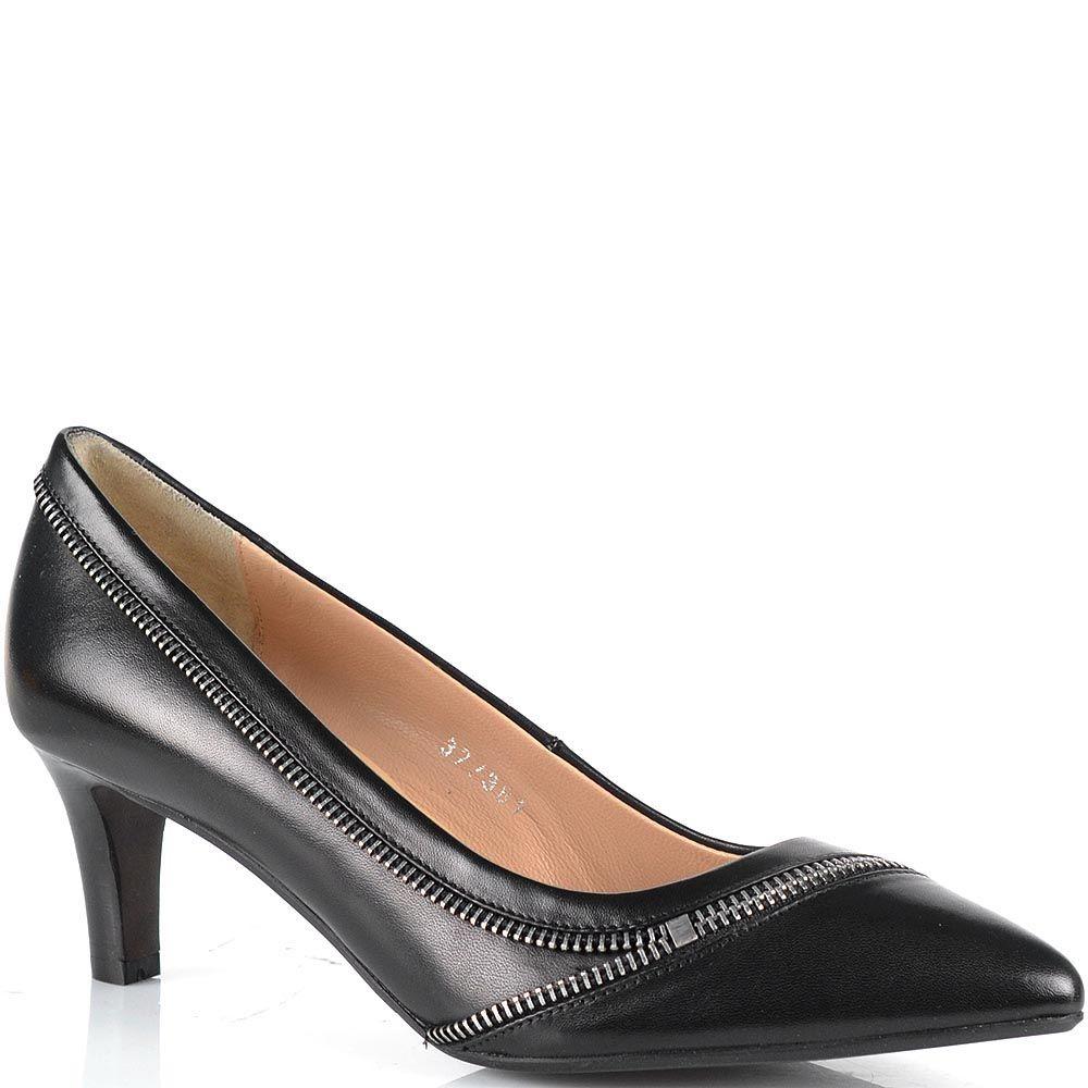 Черные туфли Bruno Premi на низком каблуке с изящной декоративной молнией