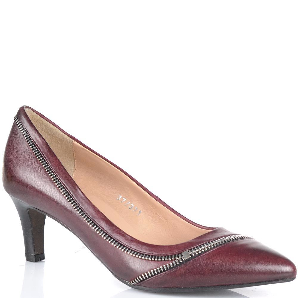 Туфли Bruno Premi бордового цвета на низком каблуке с изящной декоративной молнией