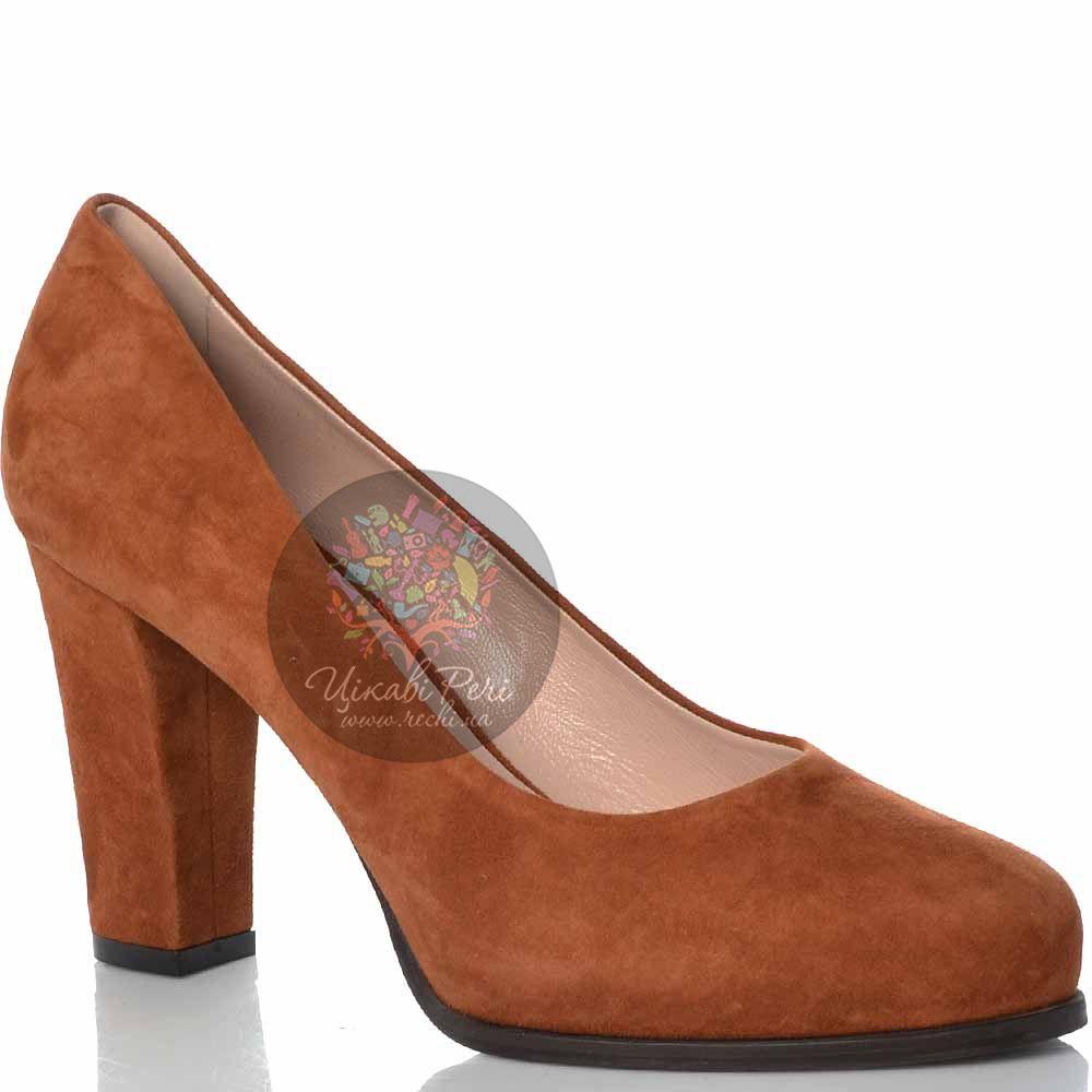 Туфли Giorgio Fabiani замшевые коричнево-рыжие на удобном каблуке