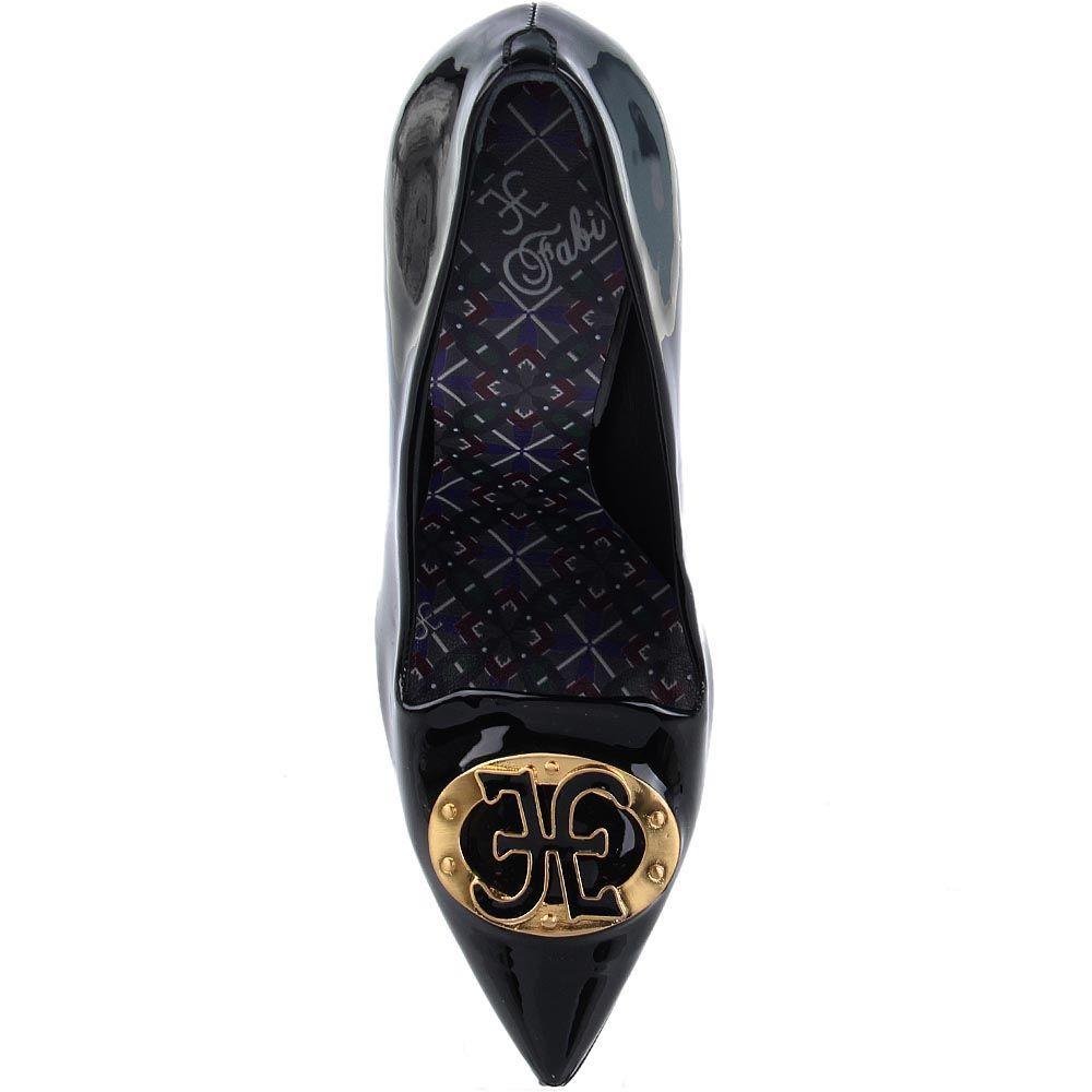 Женские туфли FABI черного цвета из лаковой кожи с брендированной фурнитурой