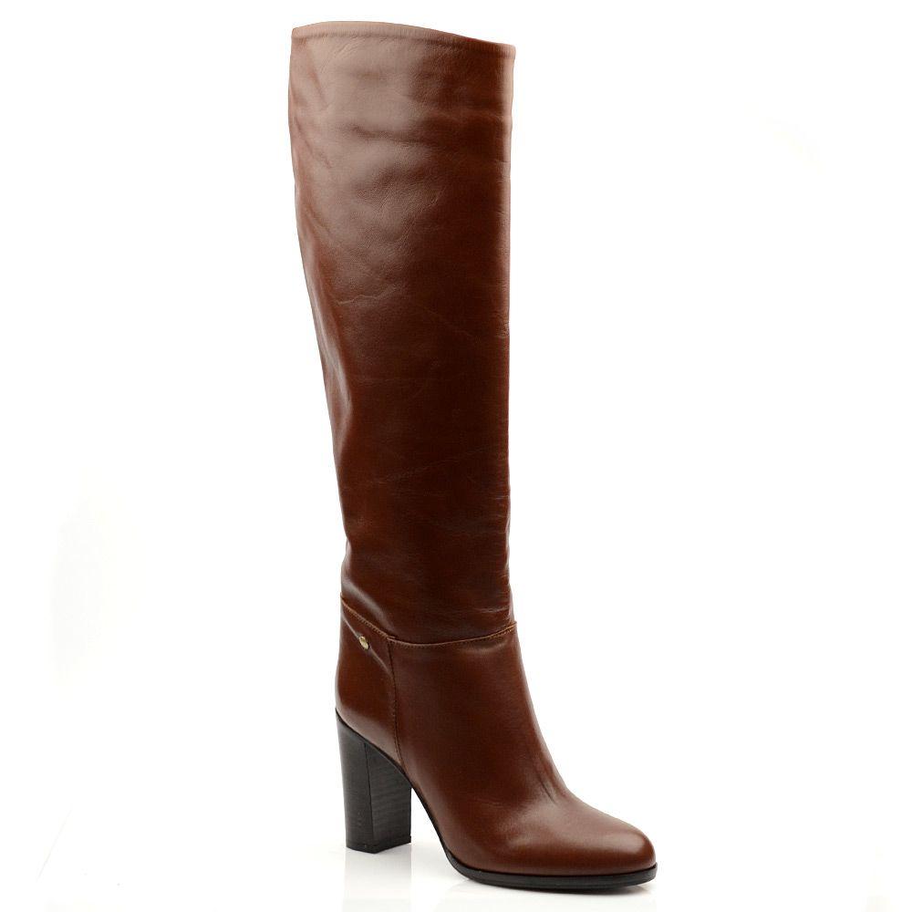 Женские кожаные сапоги Gianfranco Ferre коричневые