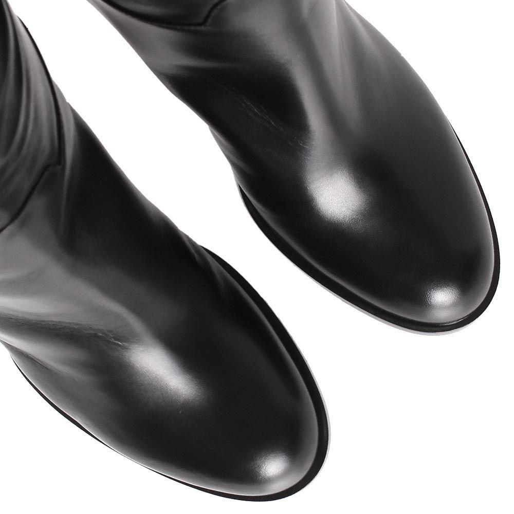 Сапоги Casadei черные высокие с пряжкой