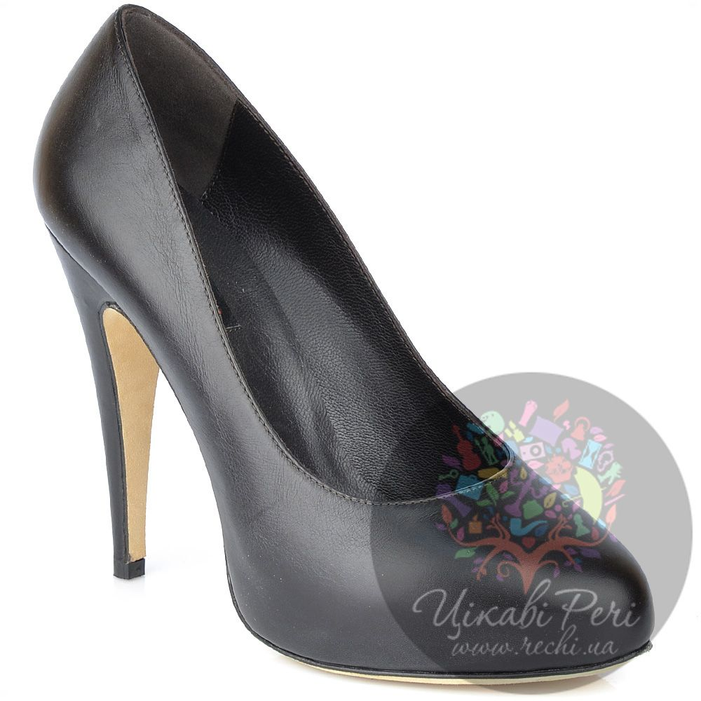 Туфли Fratelli Cattolico на шпильке черно-коричневые кожаные