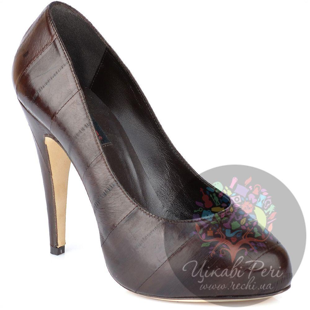 Туфли Fratelli Cattolico на шпильке коричневые из кожаных полос