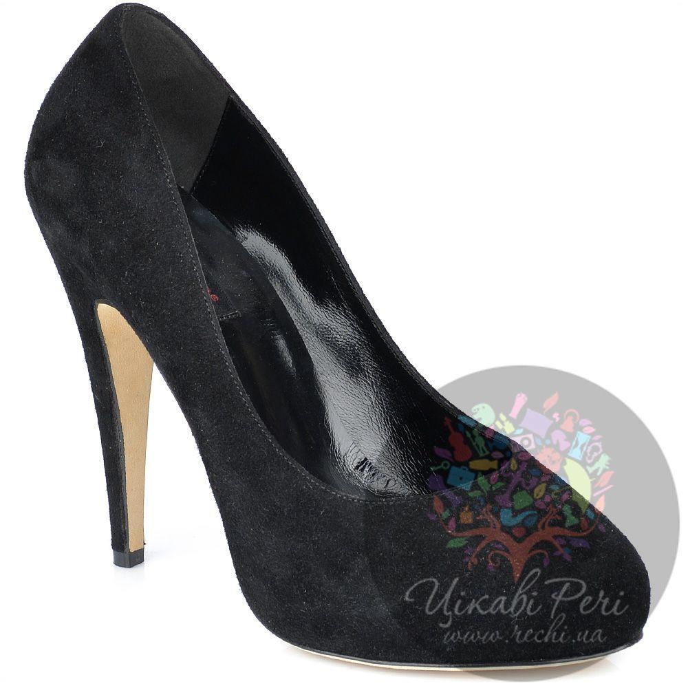 Туфли Fratelli Cattolico на шпильке черные замшевые